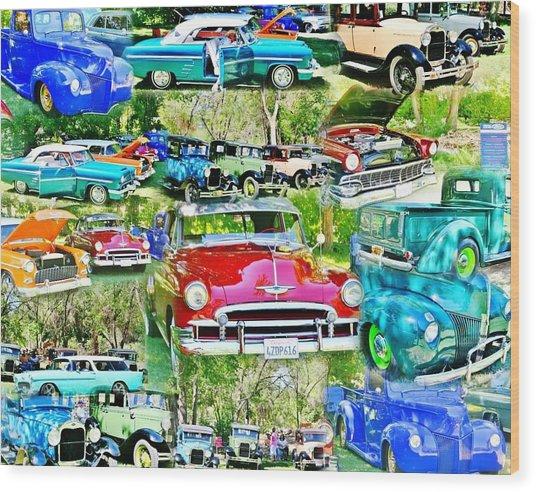 Classic Car Collage Wood Print