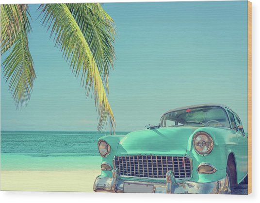 Classic Car On A Tropical Beach With Wood Print by Delpixart
