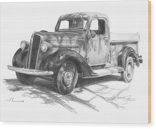 Classic Chevy Truck Pencil Portrait Wood Print by Mike Theuer