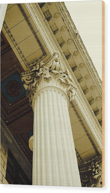 Classic Column Wood Print by Cathie Tyler