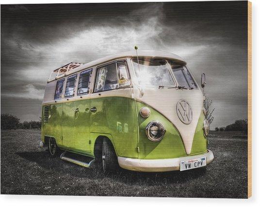 Classic Green Vw Campavan Wood Print