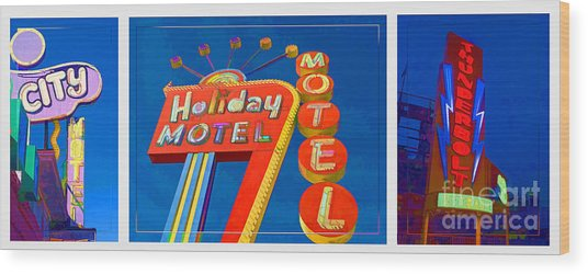 Classic Old Neon Signs Wood Print