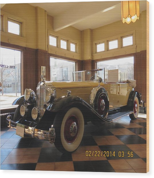 Classic Packard In Showroom Wood Print