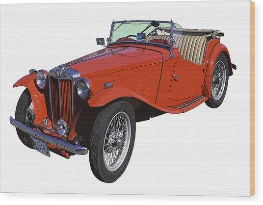 Classic Red Mg Tc Convertible British Sports Car Wood Print