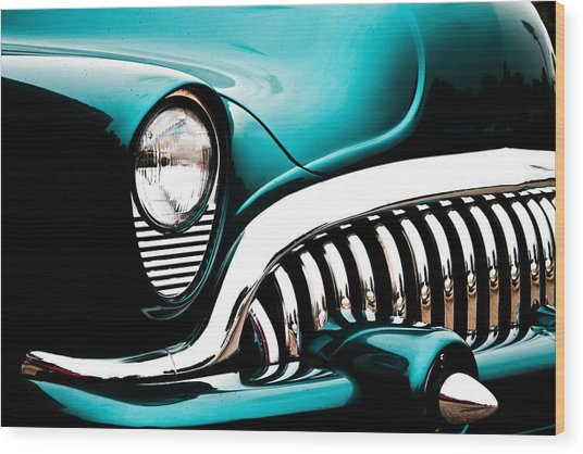 Classic Turquoise Buick Wood Print