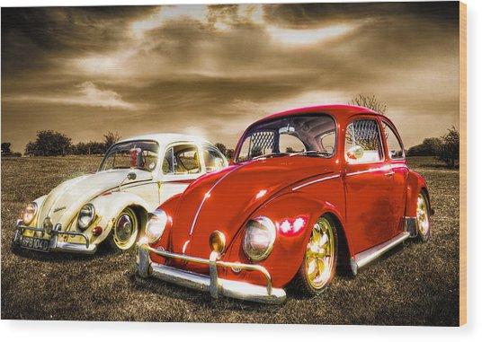 Classic Vw Beetles Wood Print by Ian Hufton