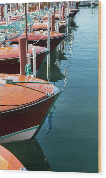 Classic Wooden Boats Wood Print by Jenniferphotographyimaging