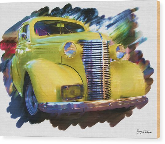 Classic Yellow Car  Wood Print