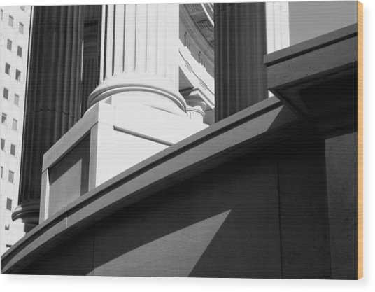 Classical Architectural Columns Black White Wood Print
