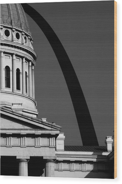 Classical Dome Arch Silhouette Black White Wood Print