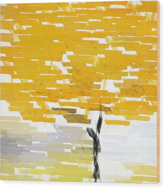 Classy Yellow Tree Wood Print
