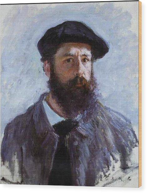 Claude Monet Self Portrait Wood Print by Claude Monet - L Brown