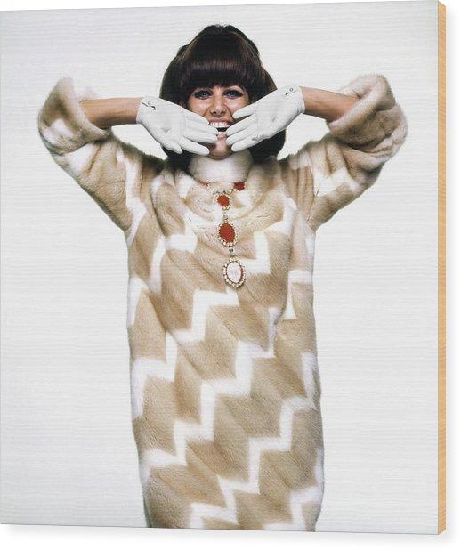 Claudia Cardinale Wearing Emeric Partos Wood Print by Bert Stern