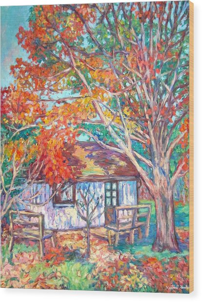 Claytor Lake Cabin In Fall Wood Print