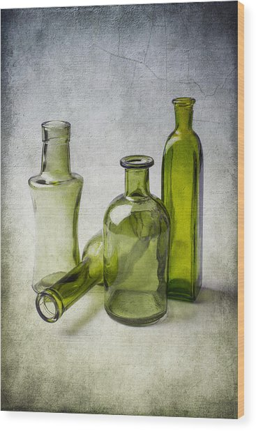 Clear Green Bottles Wood Print