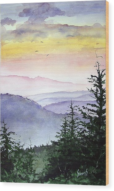 Clear Mountain Morning II Wood Print