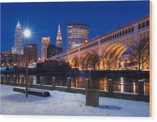Clear Sky Cleveland Winter Wood Print