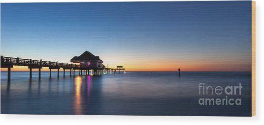 Clearwater Beach Pier Wood Print