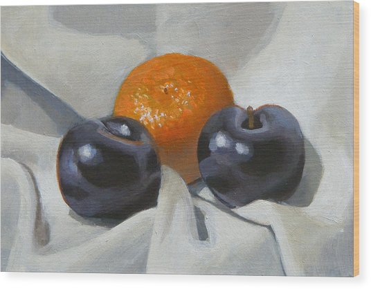Clementine And Plums Wood Print by Peter Orrock