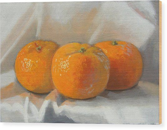 Clementines Wood Print by Peter Orrock