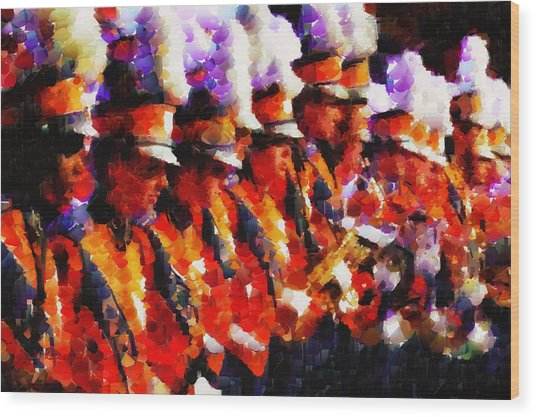 Clemson Tiger Band - Afremov-style Wood Print