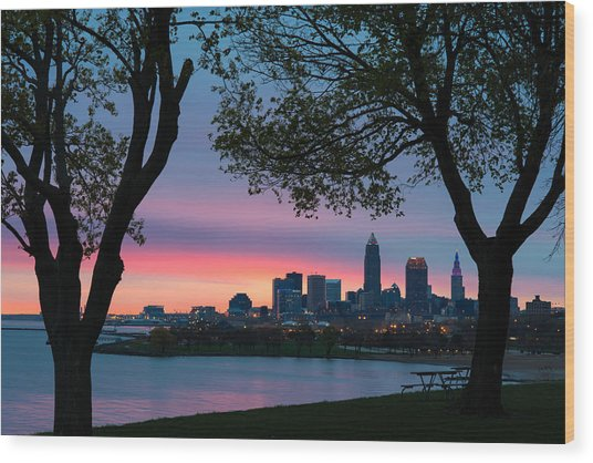 Cleveland At Dawn Wood Print