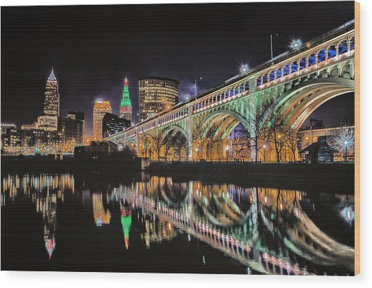 Cleveland Christmas Bridge Wood Print