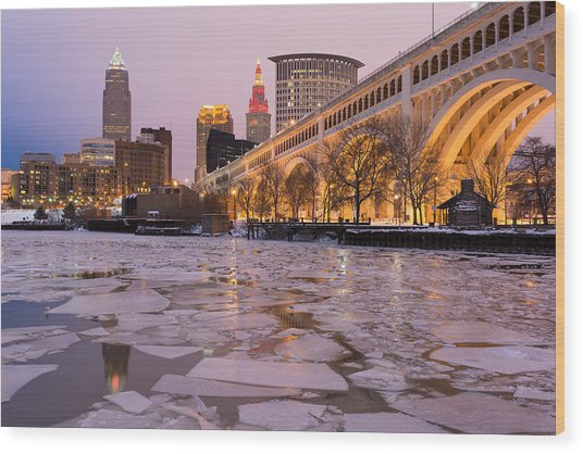 Cleveland Ice Chips Skyline Wood Print