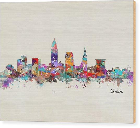 Cleveland Ohio Skyline Wood Print