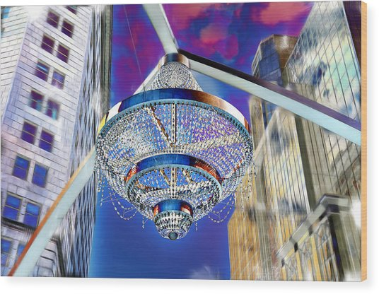 Cleveland Playhouse Square Outdoor Chandelier - 1 Wood Print