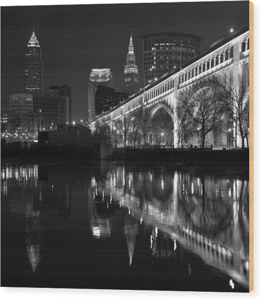 Cleveland Reflections In Black And White Wood Print
