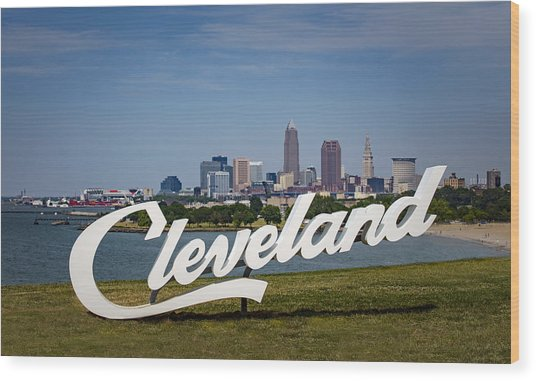 Cleveland Sign And Skyline Wood Print by Photo by Mike Kline (notkalvin)