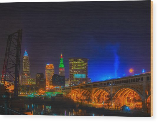 Cleveland Skyline At Christmas Wood Print