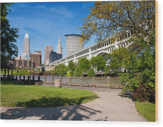 Cleveland Skyline From Riverbed Road Wood Print