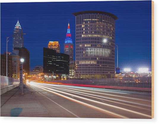 Cleveland Skyline Masterpiece Wood Print