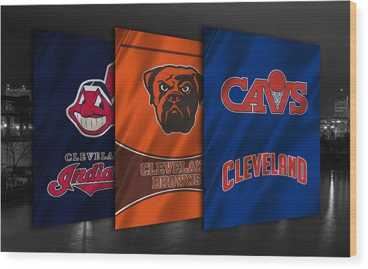 Cleveland Sports Teams Wood Print