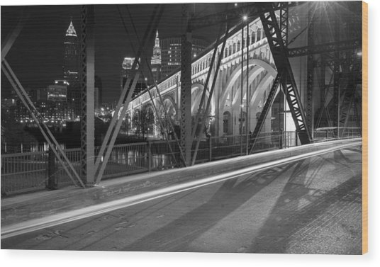Cleveland Swing Bridge Skyline Wood Print