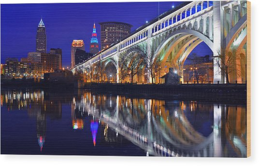 Cleveland Ultra-rez Panoramic Wood Print