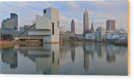 Cleveland Waterfront Daytime Panorama Wood Print