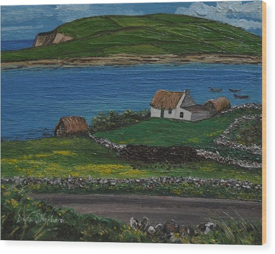 Clifden Thatched Cottage Sky Road Connemara Ireland Wood Print