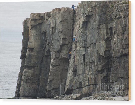 Cliff Climbers Wood Print