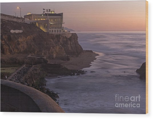Cliff House Sunset Wood Print