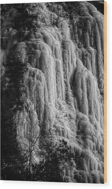 Cliff Ice In Black And White Wood Print