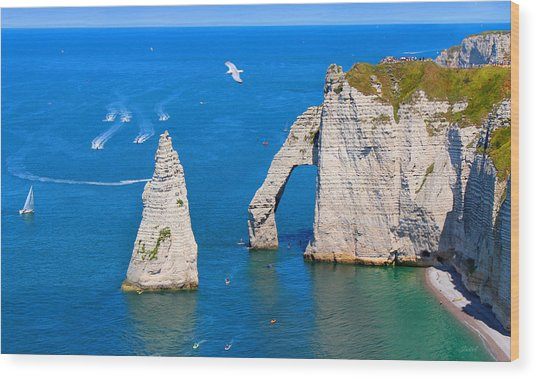 Cliffs Of Etretat France Wood Print