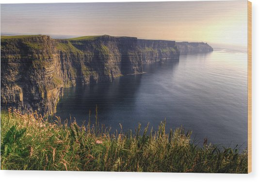 Cliffs Of Moher Distant Sunset Wood Print