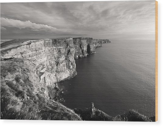 Cliffs Of Moher Ireland In Black And White Wood Print