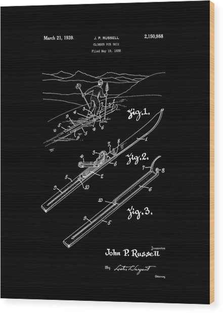 Climber For Skis 1939 Russell Patent Art Wood Print