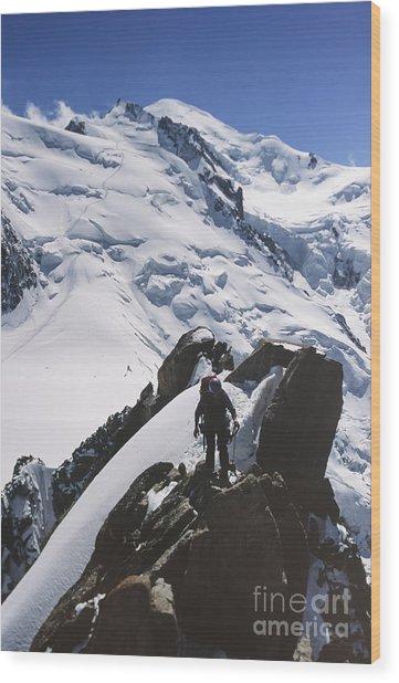 Climber On Mt Blanc In France Wood Print by Soren Egeberg