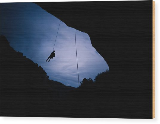 Climber Silhouette 2 Wood Print by Chase Taylor