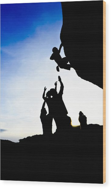 Climber Silhouette 3 Wood Print by Chase Taylor
